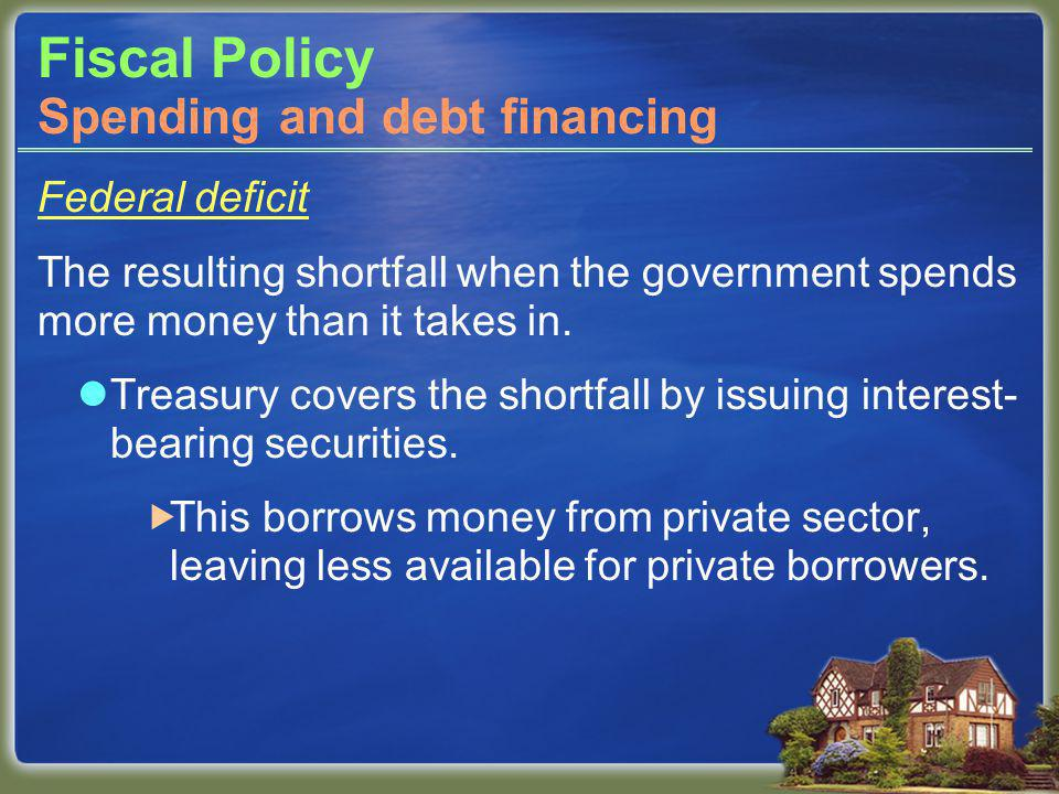 Fiscal Policy Federal deficit The resulting shortfall when the government spends more money than it takes in.