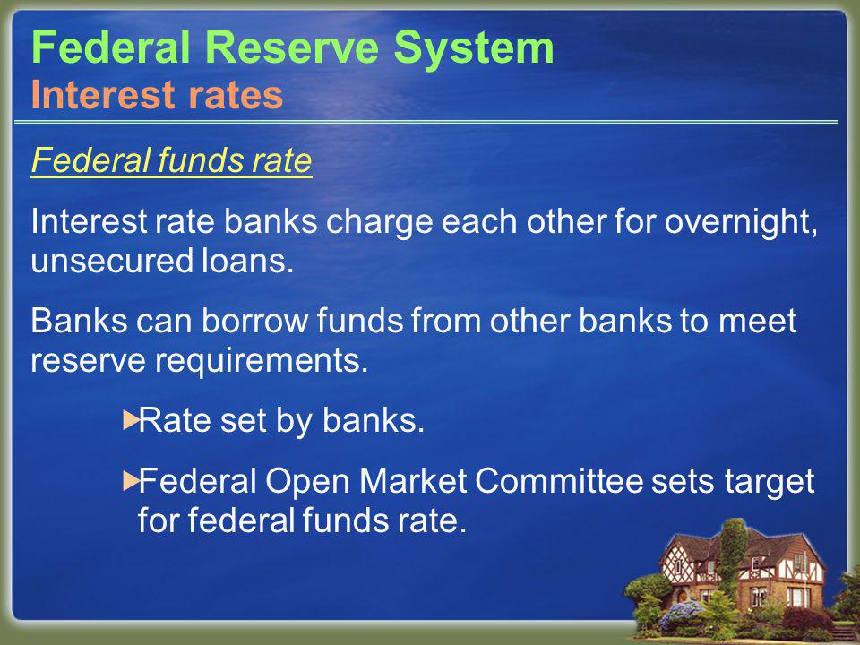 Federal Reserve System Federal funds rate Interest rate banks charge each other for overnight, unsecured loans.