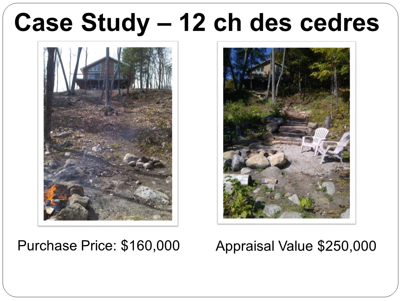 Case Study – 12 ch des cedres Purchase Price: $160,000 Appraisal Value $250,000