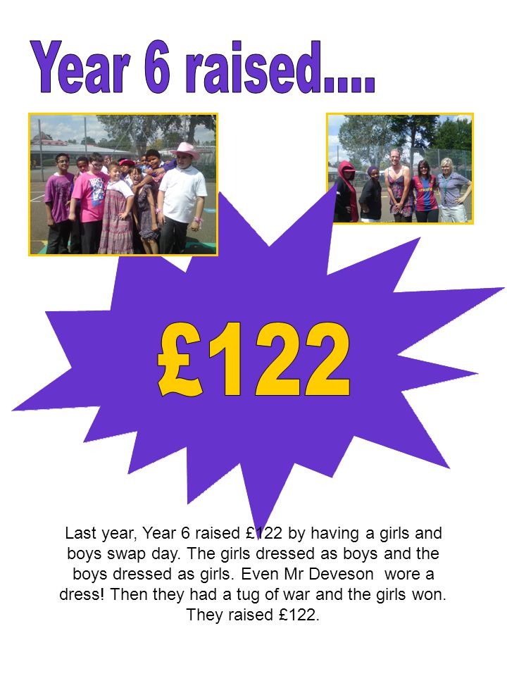 Last year, Year 6 raised £122 by having a girls and boys swap day.