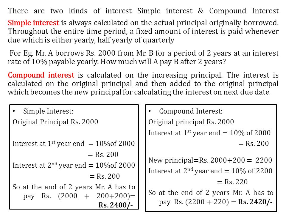 Simple Interest: Original Principal Rs.2000 Interest at 1 st year end = 10%of 2000 = Rs.