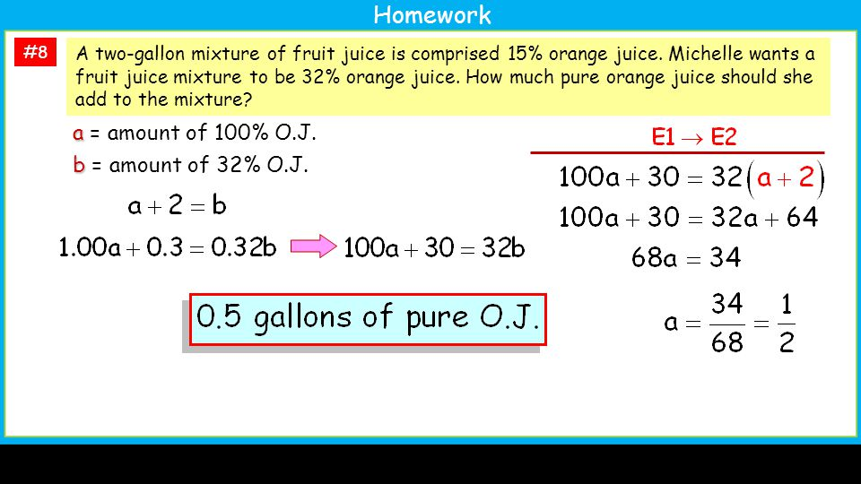 #8 A two-gallon mixture of fruit juice is comprised 15% orange juice.
