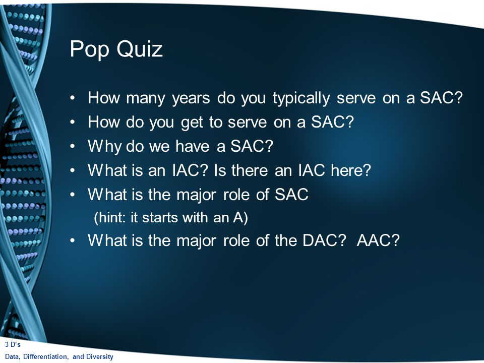 Pop Quiz How many years do you typically serve on a SAC.