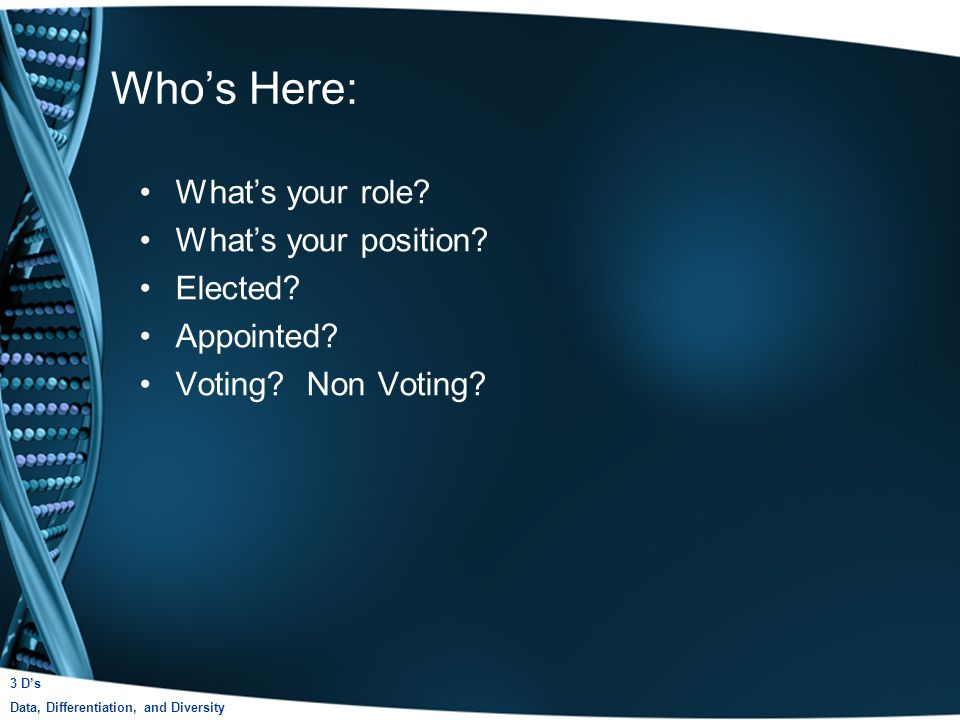 Whos Here: Whats your role. Whats your position. Elected.