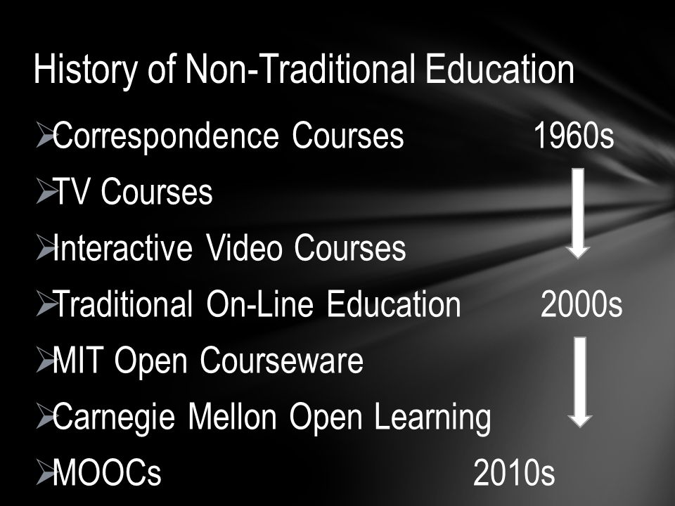 Correspondence Courses 1960s TV Courses Interactive Video Courses Traditional On-Line Education 2000s MIT Open Courseware Carnegie Mellon Open Learning MOOCs 2010s History of Non-Traditional Education