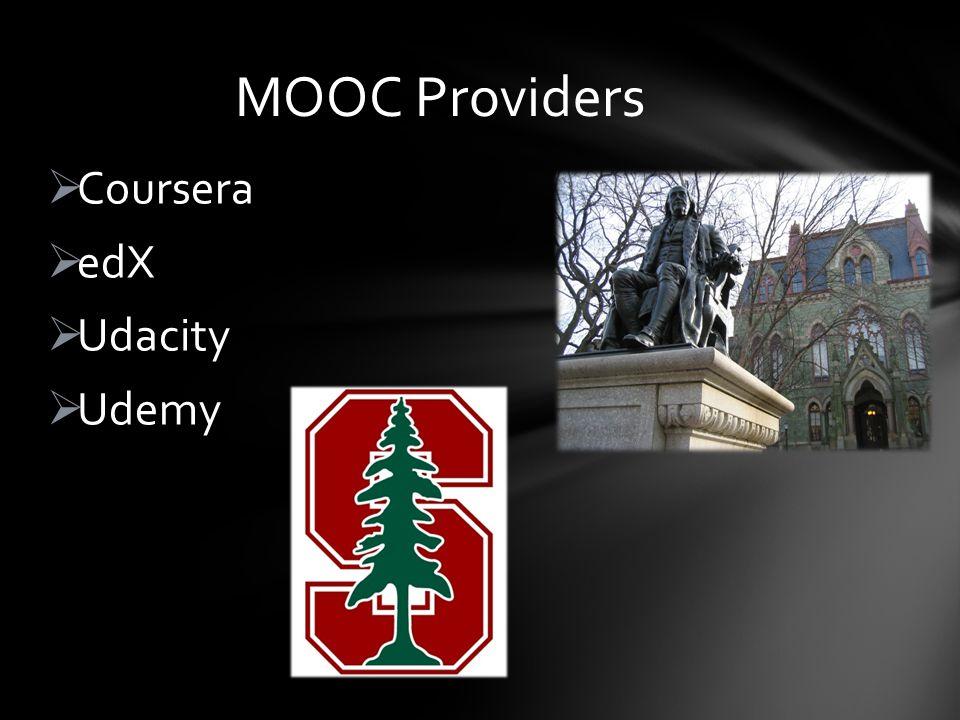 Coursera edX Udacity Udemy MOOC Providers