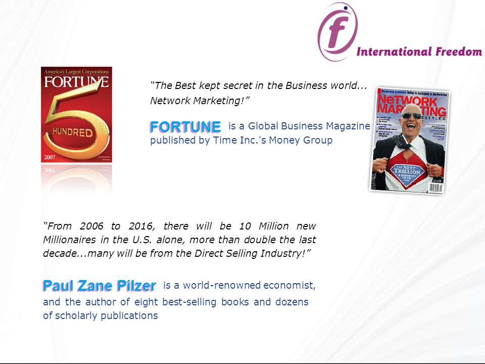 The Best kept secret in the Business world... Network Marketing! is a Global Business Magazine From 2006 to 2016, there will be 10 Million new Million