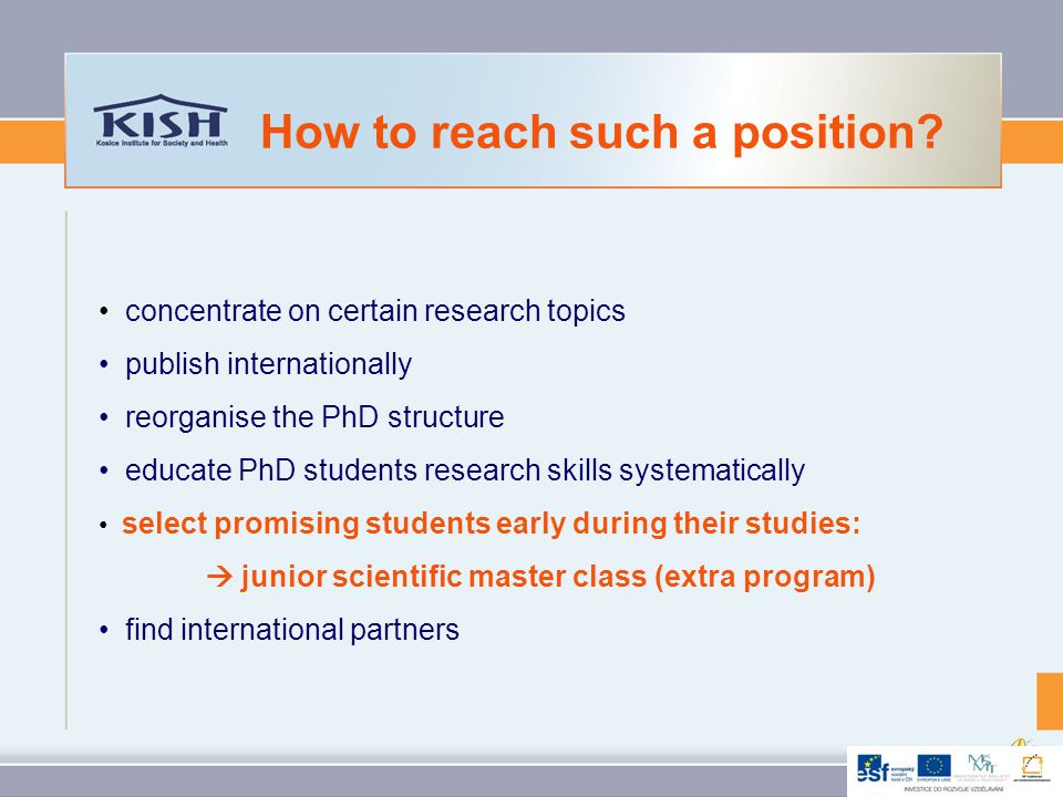 concentrate on certain research topics publish internationally reorganise the PhD structure educate PhD students research skills systematically: Graduate School select promising students early during their studies find international partners How to reach such a position