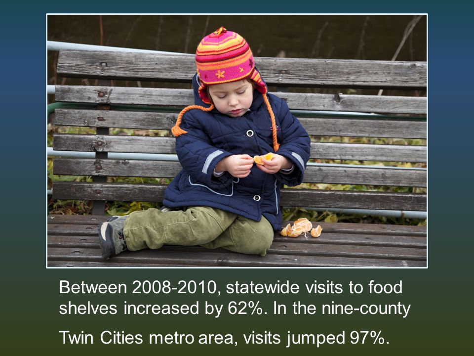 Between 2008-2010, statewide visits to food shelves increased by 62%.