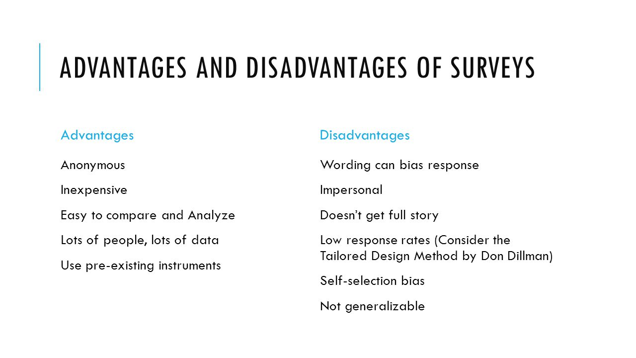 ADVANTAGES AND DISADVANTAGES OF SURVEYS Advantages Anonymous Inexpensive Easy to compare and Analyze Lots of people, lots of data Use pre-existing instruments Disadvantages Wording can bias response Impersonal Doesnt get full story Low response rates (Consider the Tailored Design Method by Don Dillman) Self-selection bias Not generalizable