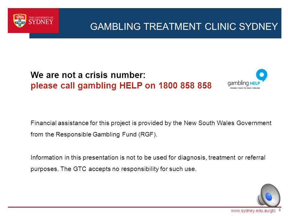 Gambling treatment clinic sydney uni free gambling gamescom internet online