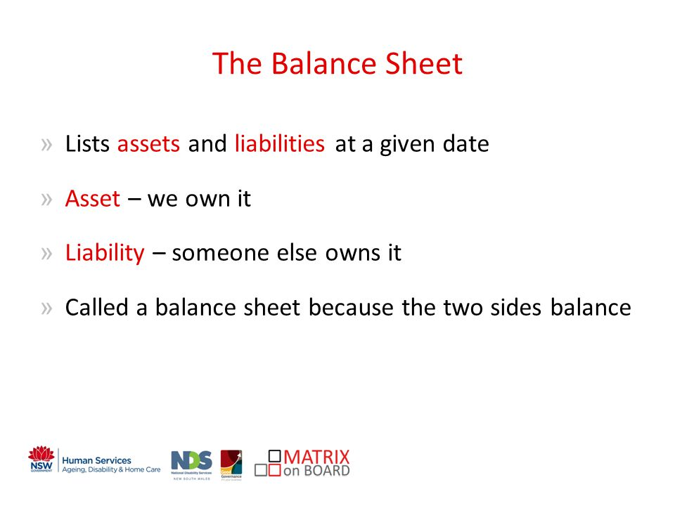 The Balance Sheet »Lists assets and liabilities at a given date »Asset – we own it »Liability – someone else owns it »Called a balance sheet because the two sides balance