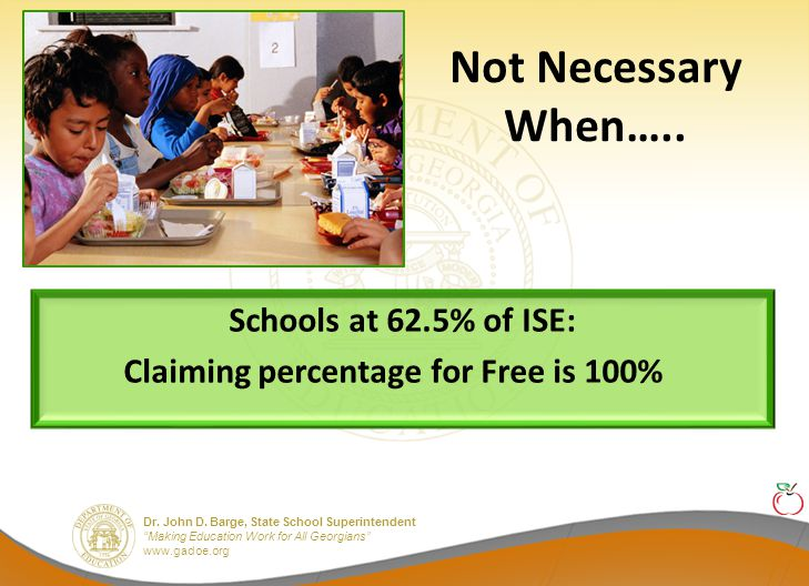 Dr. John D. Barge, State School Superintendent Making Education Work for All Georgians www.gadoe.org Not Necessary When….. Schools at 62.5% of ISE: Cl
