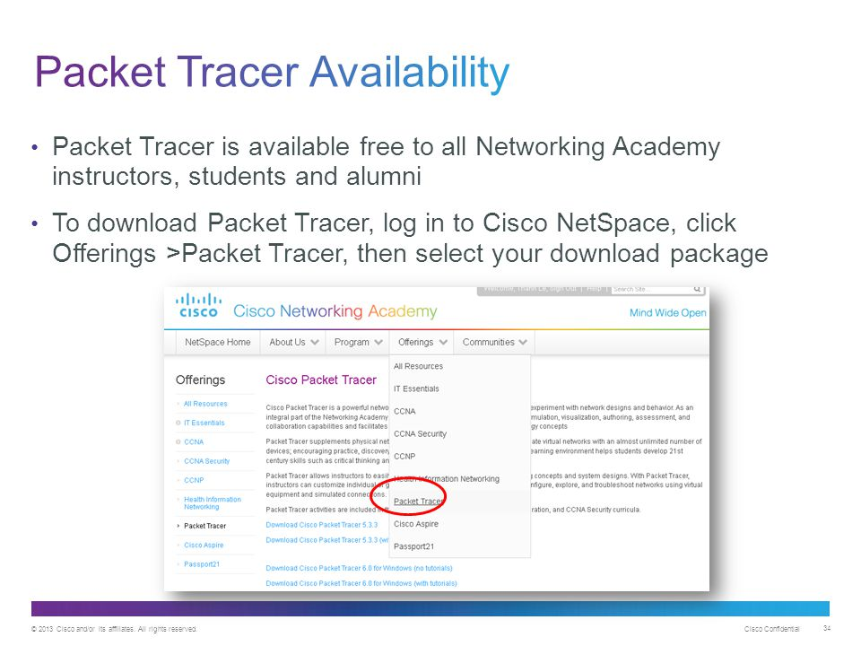 © 2013 Cisco and/or its affiliates. All rights reserved. Cisco Confidential 34 Packet Tracer is available free to all Networking Academy instructors,