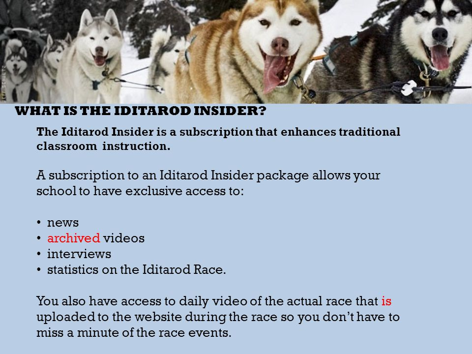 WHAT IS THE IDITAROD INSIDER? The Iditarod Insider is a subscription that enhances traditional classroom instruction. A subscription to an Iditarod In
