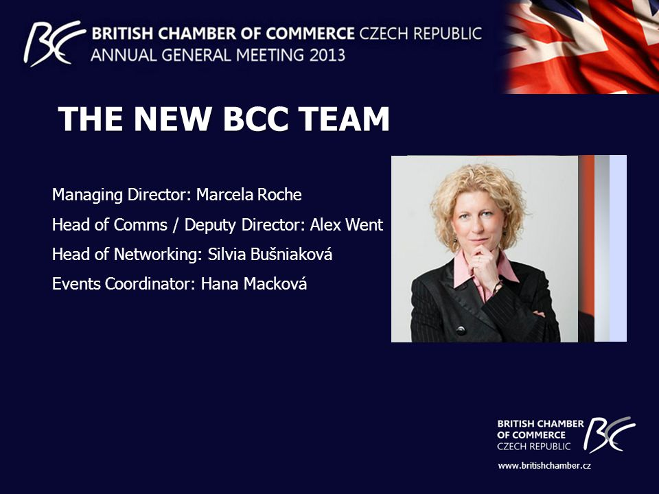 Managing Director: Marcela Roche Head of Comms / Deputy Director: Alex Went Head of Networking: Silvia Bušniaková Events Coordinator: Hana Macková   THE NEW BCC TEAM