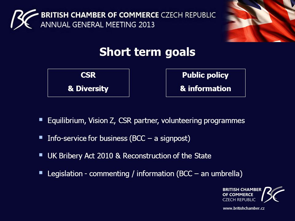 CSR & Diversity Public policy & information Equilibrium, Vision Z, CSR partner, volunteering programmes Info-service for business (BCC – a signpost) UK Bribery Act 2010 & Reconstruction of the State Legislation - commenting / information (BCC – an umbrella) Short term goals www.britishchamber.cz