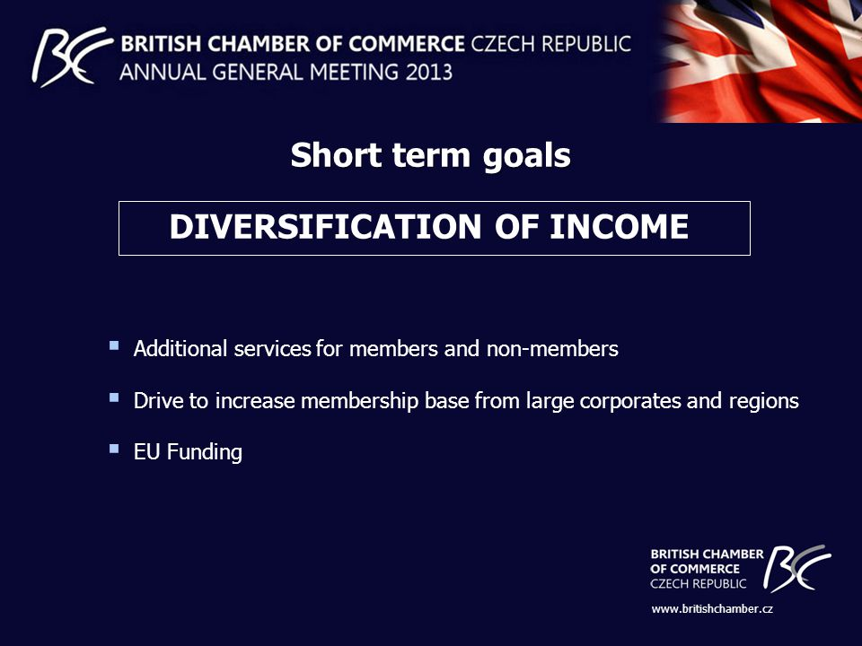 DIVERSIFICATION OF INCOME Short term goals   Additional services for members and non-members Drive to increase membership base from large corporates and regions EU Funding