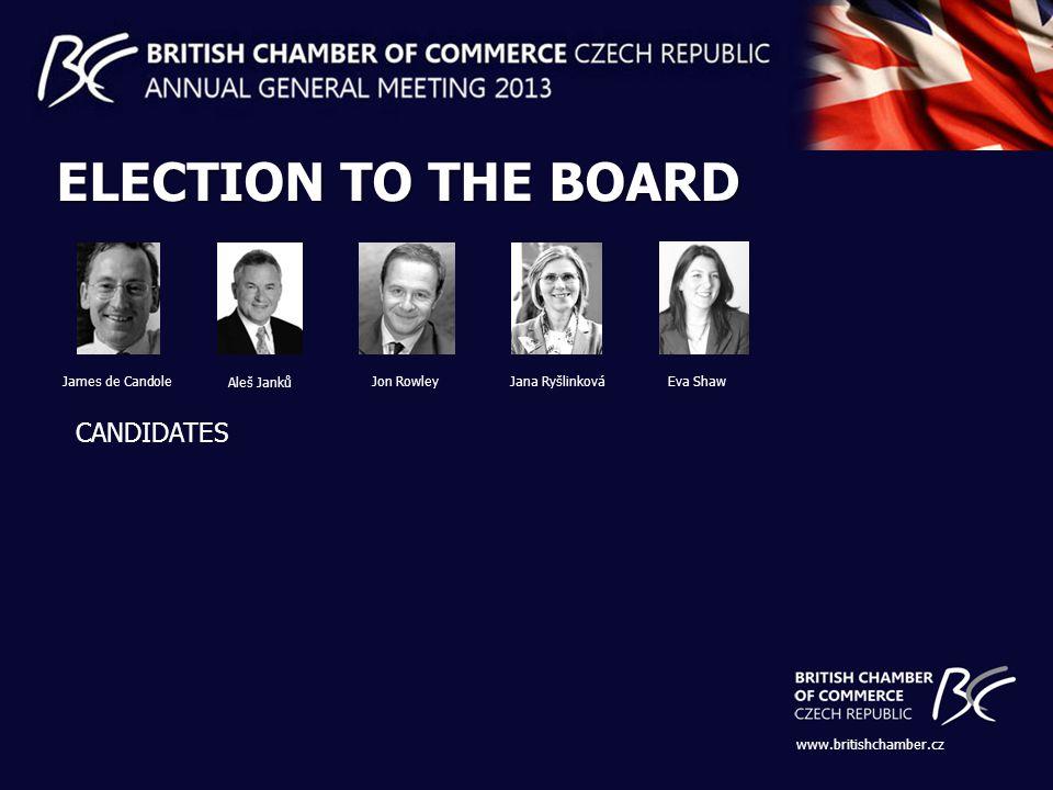 www.britishchamber.cz ELECTION TO THE BOARD CANDIDATES Jon Rowley Aleš Janků Eva Shaw James de Candole Jana Ryšlinková