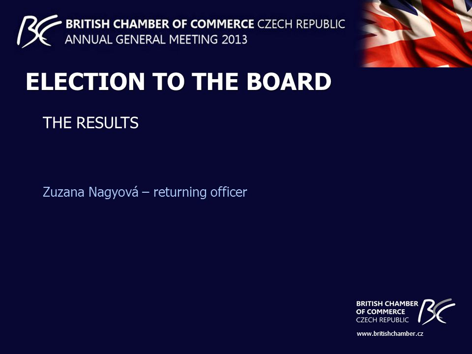 www.britishchamber.cz ELECTION TO THE BOARD THE RESULTS Zuzana Nagyová – returning officer