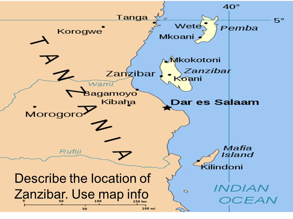 Describe the location of Zanzibar. Use map info
