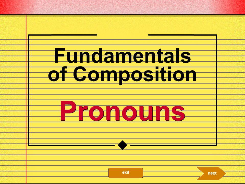 Pronoun A pronoun is a word that can replace a noun. 10.2a nextprevious exit