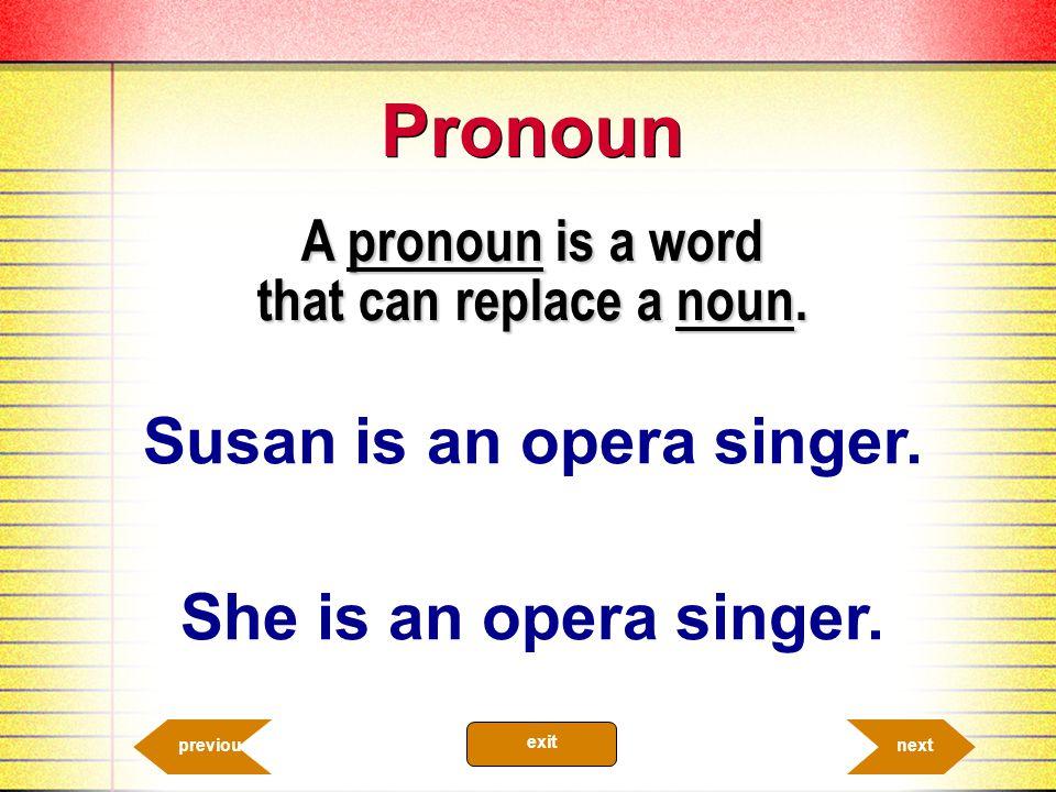 Pronoun A pronoun is a word that can replace a noun.