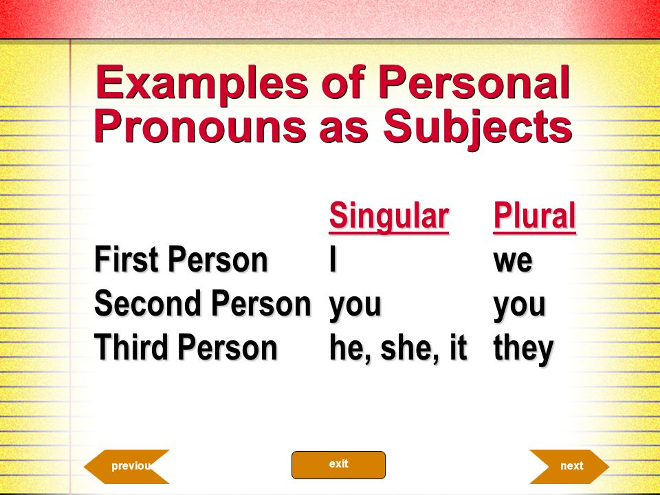 She and I are best friends. 10.5b Personal Pronouns It was they at the door. nextprevious exit