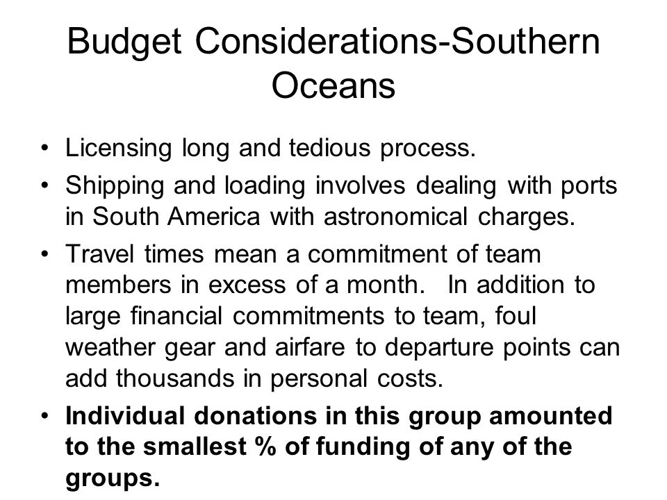 Budget Considerations-Southern Oceans Licensing long and tedious process.