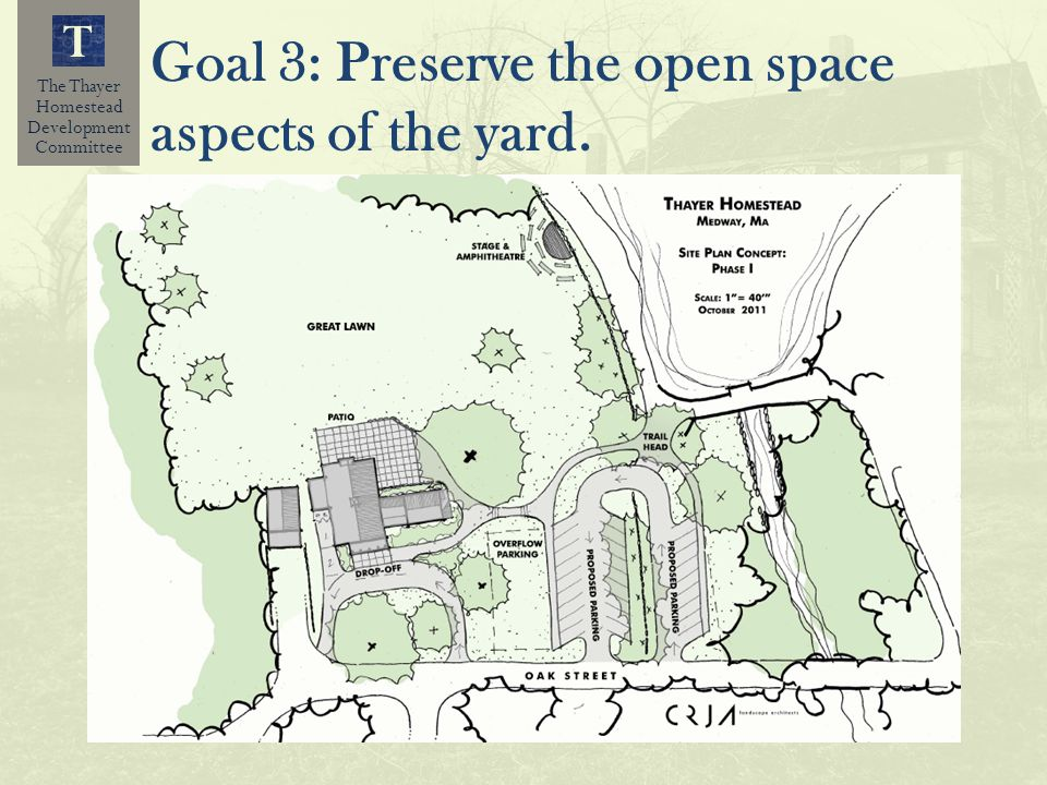 The Thayer Homestead Development Committee T Goal 3: Preserve the open space aspects of the yard.