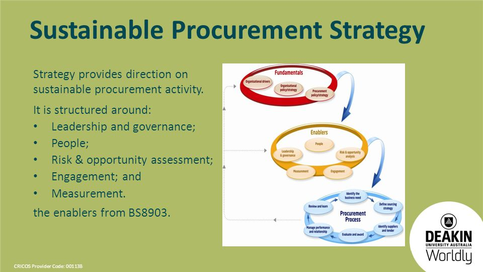 CRICOS Provider Code: 00113B Sustainable Procurement Strategy Strategy provides direction on sustainable procurement activity. It is structured around
