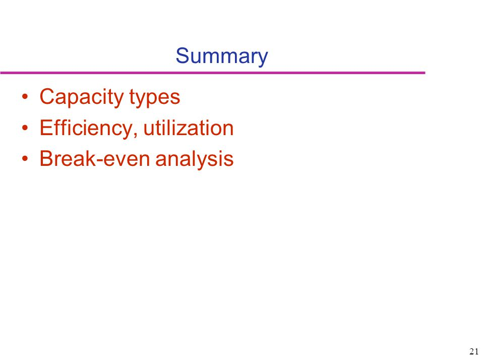 21 Summary Capacity types Efficiency, utilization Break-even analysis