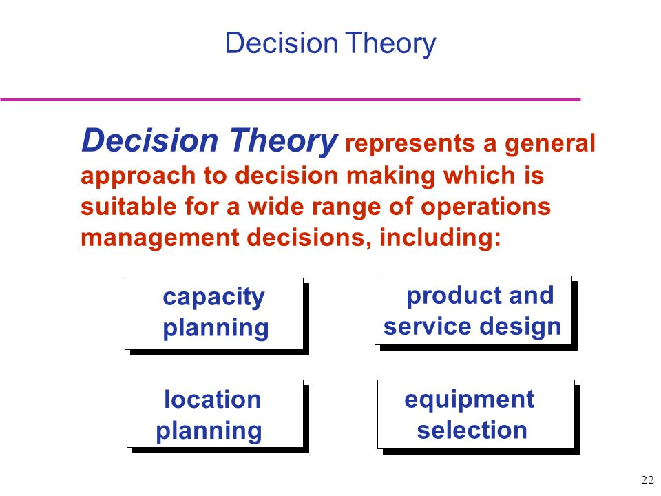 22 Decision Theory Decision Theory represents a general approach to decision making which is suitable for a wide range of operations management decisi