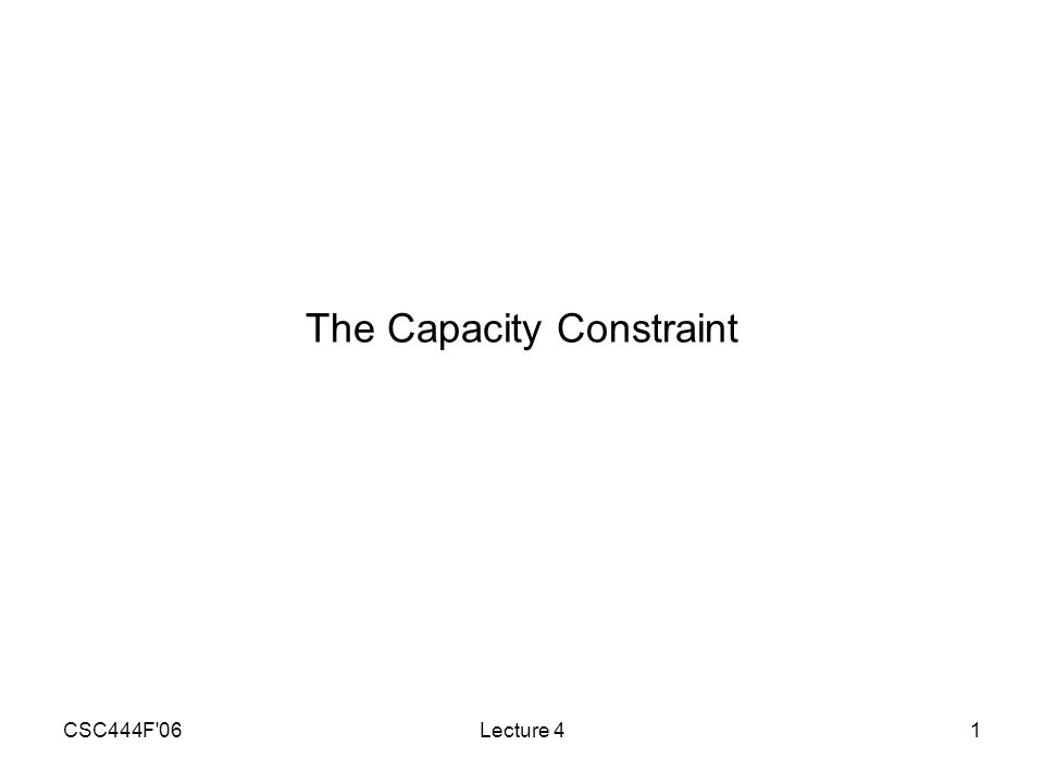 CSC444F 06Lecture 41 The Capacity Constraint