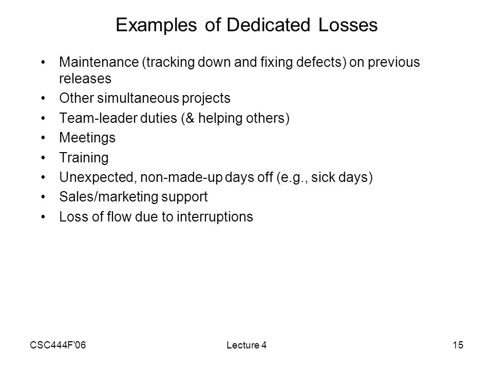 CSC444F 06Lecture 415 Examples of Dedicated Losses Maintenance (tracking down and fixing defects) on previous releases Other simultaneous projects Team-leader duties (& helping others) Meetings Training Unexpected, non-made-up days off (e.g., sick days) Sales/marketing support Loss of flow due to interruptions