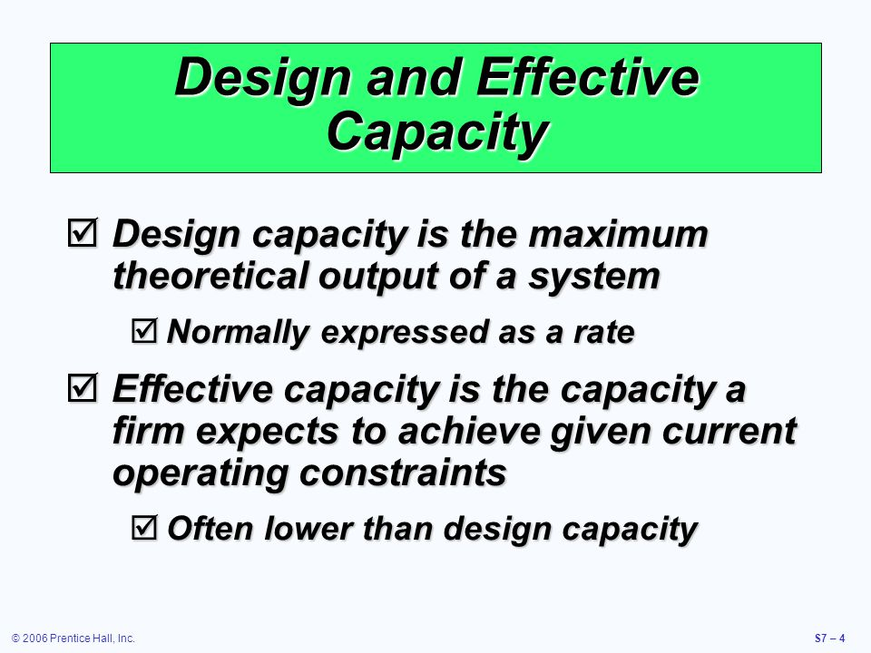 © 2006 Prentice Hall, Inc.S7 – 5 Utilization and Efficiency Utilization is the percent of design capacity achieved Efficiency is the percent of effective capacity achieved Utilization = Actual Output/Design Capacity Efficiency = Actual Output/Effective Capacity