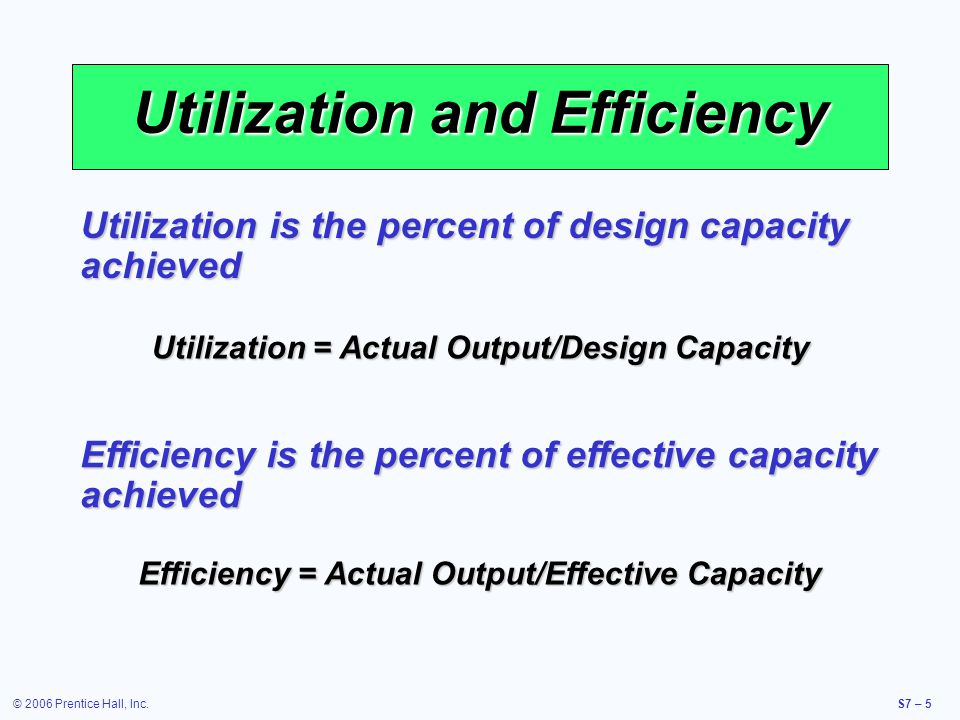 © 2006 Prentice Hall, Inc.S7 – 16 Capacity Considerations Forecast demand accurately Forecast demand accurately Understanding the technology and capacity increments Understanding the technology and capacity increments Find the optimal operating level (volume) Find the optimal operating level (volume) Build for change Build for change