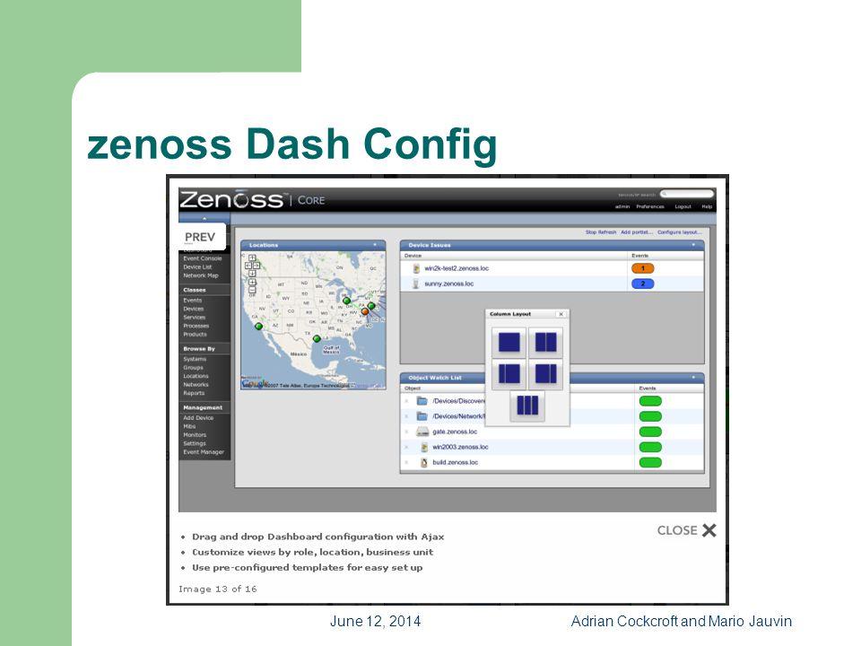 June 12, 2014Adrian Cockcroft and Mario Jauvin zenoss Dash Config