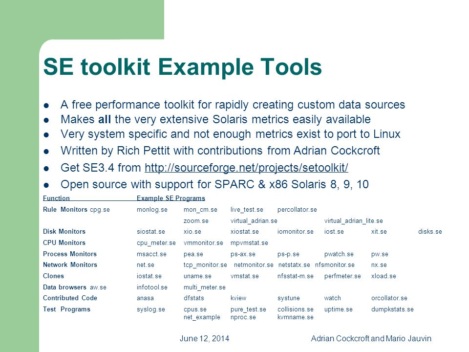 June 12, 2014Adrian Cockcroft and Mario Jauvin SE toolkit Example Tools A free performance toolkit for rapidly creating custom data sources Makes all