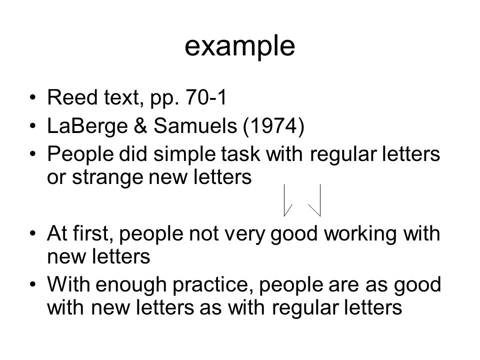example Reed text, pp. 70-1 LaBerge & Samuels (1974) People did simple task with regular letters or strange new letters At first, people not very good