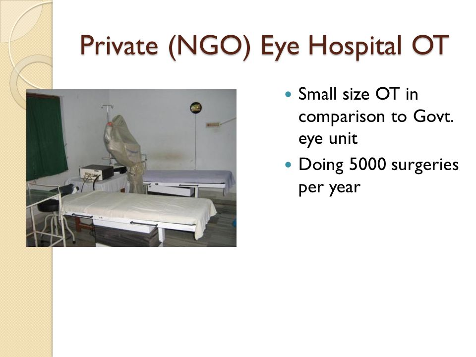Private (NGO) Eye Hospital OT Small size OT in comparison to Govt.