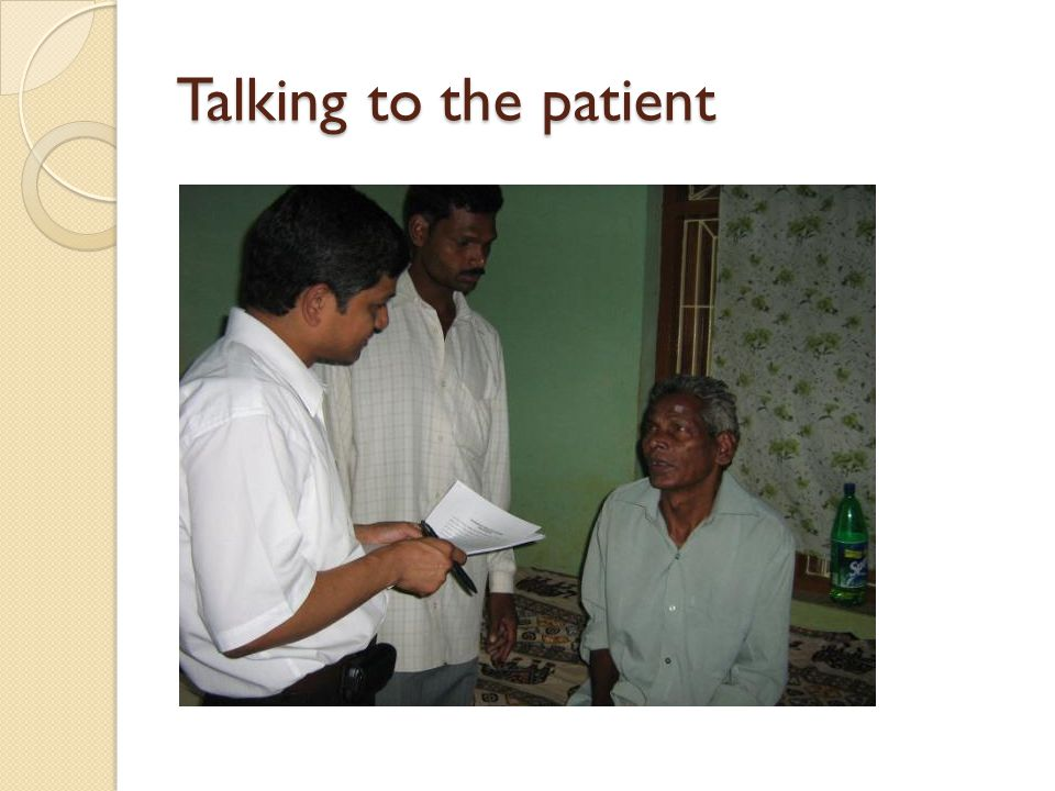 Talking to the patient