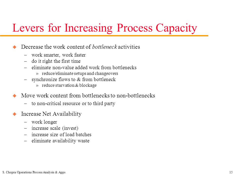 S. Chopra/Operations/Process Analysis & Apps15 Levers for Increasing Process Capacity u Decrease the work content of bottleneck activities –work smart