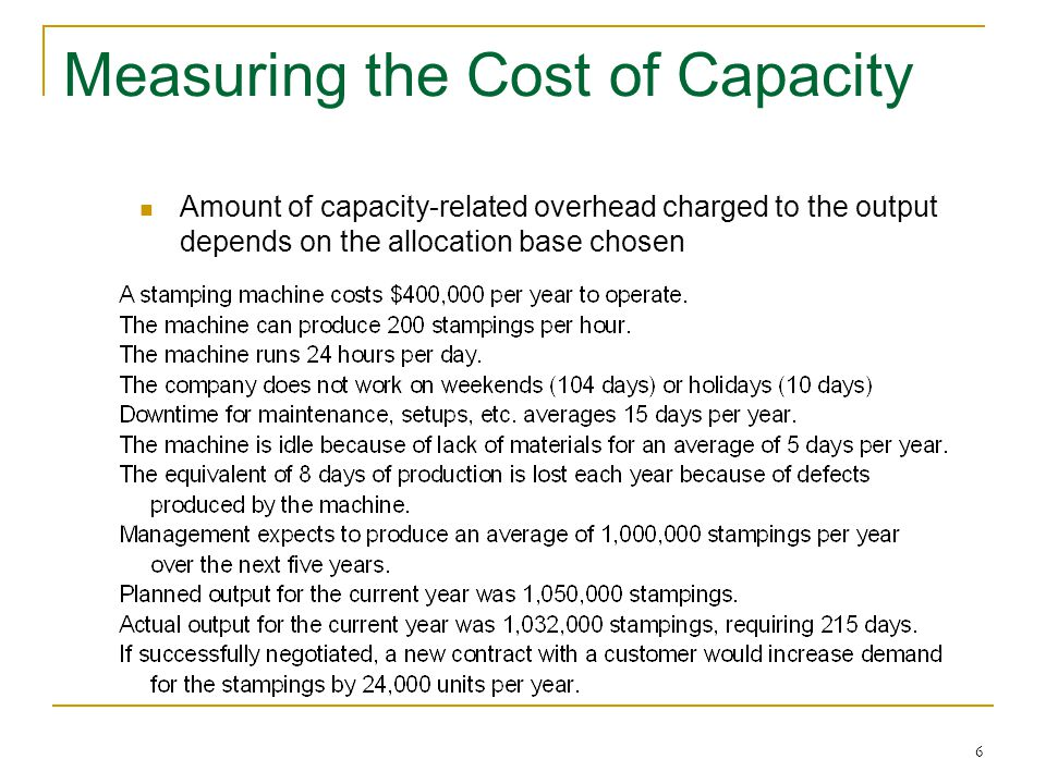 6 Measuring the Cost of Capacity Amount of capacity-related overhead charged to the output depends on the allocation base chosen