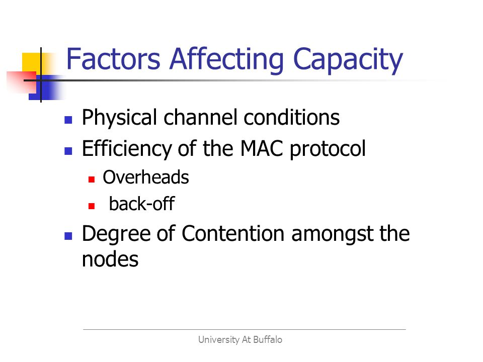 University At Buffalo Factors Affecting Capacity Physical channel conditions Efficiency of the MAC protocol Overheads back-off Degree of Contention amongst the nodes