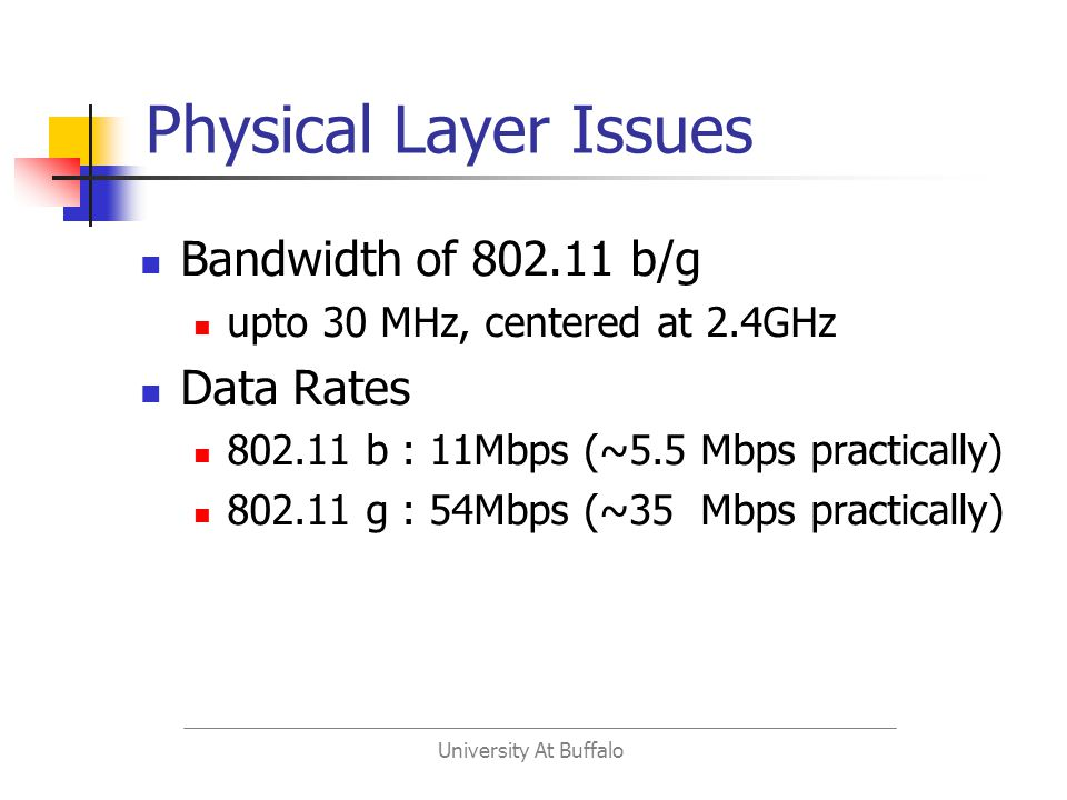 University At Buffalo Physical Layer Issues Bandwidth of 802.11 b/g upto 30 MHz, centered at 2.4GHz Data Rates 802.11 b : 11Mbps (~5.5 Mbps practically) 802.11 g : 54Mbps (~35 Mbps practically)