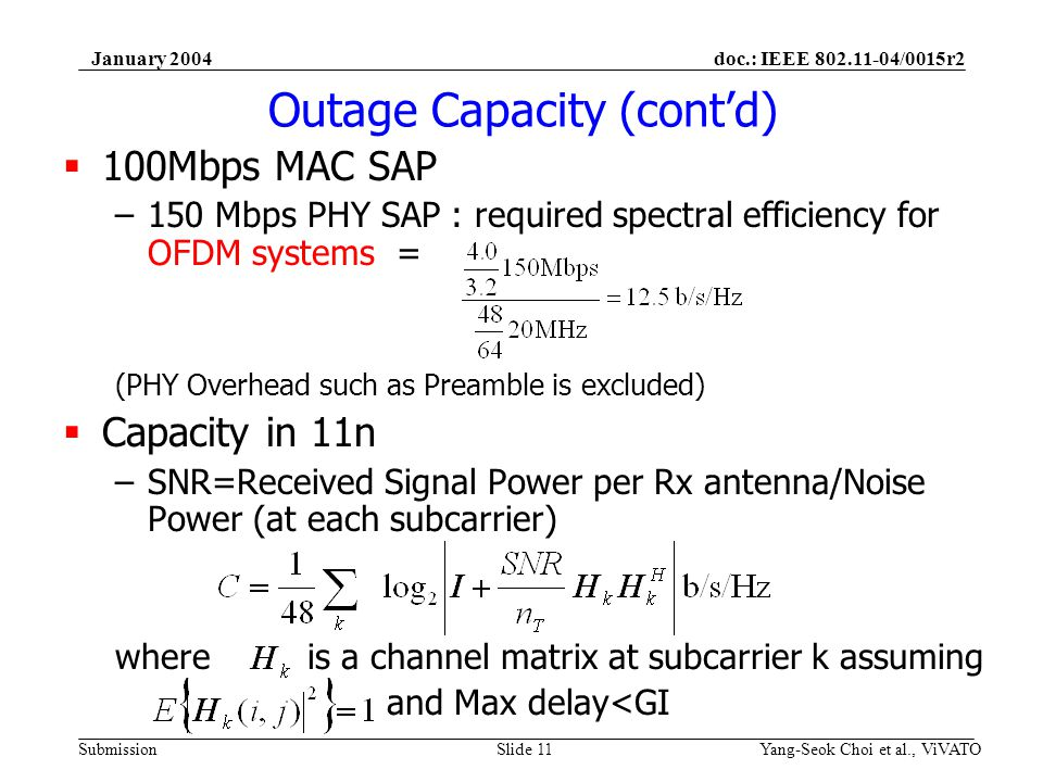 doc.: IEEE /0015r2 Submission January 2004 Yang-Seok Choi et al., ViVATOSlide 11 Outage Capacity (contd) 100Mbps MAC SAP –150 Mbps PHY SAP : required spectral efficiency for OFDM systems = (PHY Overhead such as Preamble is excluded) Capacity in 11n –SNR=Received Signal Power per Rx antenna/Noise Power (at each subcarrier) where is a channel matrix at subcarrier k assuming and Max delay<GI