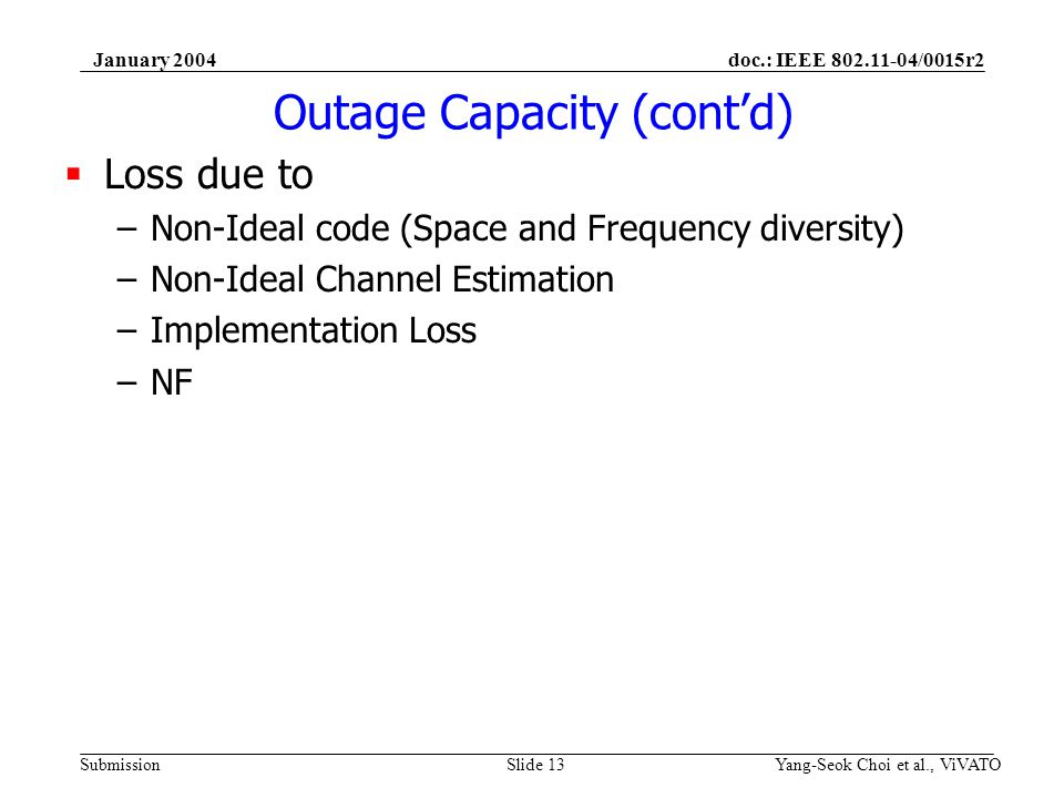 doc.: IEEE 802.11-04/0015r2 Submission January 2004 Yang-Seok Choi et al., ViVATOSlide 13 Outage Capacity (contd) Loss due to –Non-Ideal code (Space a
