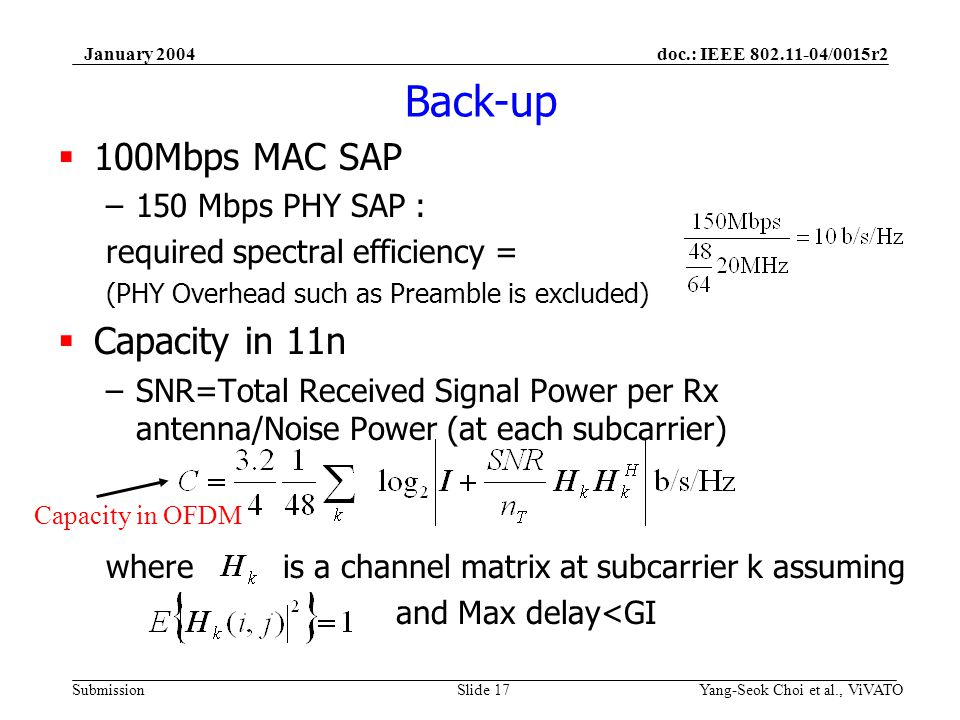 doc.: IEEE 802.11-04/0015r2 Submission January 2004 Yang-Seok Choi et al., ViVATOSlide 17 Back-up 100Mbps MAC SAP –150 Mbps PHY SAP : required spectra