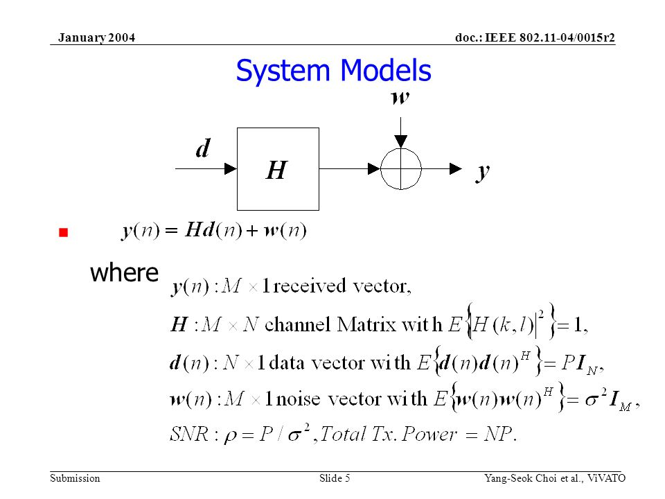 doc.: IEEE 802.11-04/0015r2 Submission January 2004 Yang-Seok Choi et al., ViVATOSlide 6 Instantaneous Capacity Capacity under given realization of channel matrix with perfect knowledge of channel at Rx If transmitted frames have spectral efficiency less than above capacity, with arbitrarily large codeword, FER will be arbitrarily small If transmitted frames have spectral efficiency greater than above capacity, with arbitrarily large codeword, FER will approach 100%.